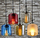 New Industrial Retro Silver Glass Shade Pendant light Bar LED Lamp Ceiling CAFE