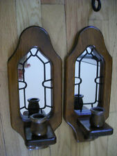 Home Interior Wall decor Vintage wood w mirror sconce candle holder