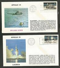 APOLLO 16 LAUNCH & SPLASH DOWN APR 1972 KSC CAPE CANAVERAL SET OF 2