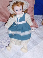 VINTAGE BLONDE DOLL WITH PORCELAIN BISQUE HEAD ARMS LEGS glass eyes music