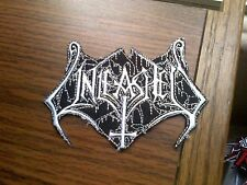 UNLEASHED,IRON ON WHITE EMBROIDERED PATCH