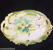 Antique 19c. Art Nouveau RS Prussia Hand Painted Lily Scroll Mold Dresser Tray