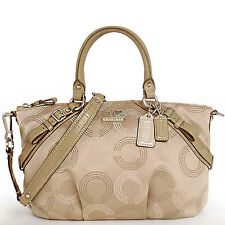 NWT Coach Madison Dotted Op Art Sophia Satchel Bag 15935 - Khaki