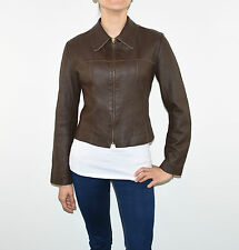 Vintage Brown Leather Fitted Waist Length Zip Women's Blazer Jacket Size M