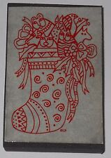 VINTAGE LAUREL BURCH CAT CHRISTMAS STOCKING rubber stamp ~ crafts cards #257G