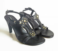 Pied a Terre sandals size 35 (UK 2) black leather and brass studded summer