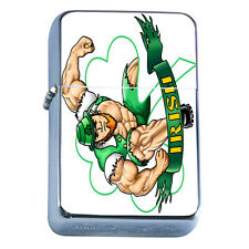 Windproof Refillable Flip Top Oil Lighter St Patricks Day D4 Irish Ireland