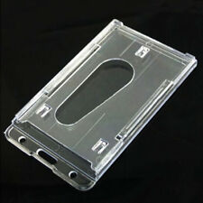 New Vertical Hard Plastic ID Badge Holder Double Card Multi Transparent Clear