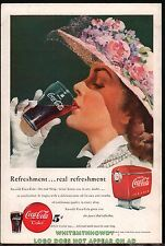 1949 COCA-COLA Antique w/ Coke Fountain Dispenser AD Floral Hat