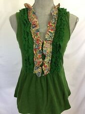 Deletta Anthropologie Top S Small Jelly Green Floral Trim Ruffles Tank Top