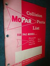 1963 CHRYSLER / PLYMOUTH / DODGE / IMPERIAL / DART /  COLLISION PARTS CATALOG