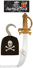 PLASTIC PIRATE SWORD AND HOOK FANCY DRESS COSTUME ACCESSORIES CUTLASS CAPTAIN
