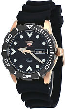 Seiko 5 Sports SRPA12 Men's Rose Gold Tone Black Rubber Band100M Automatic Watch