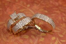 10K White Gold His and Her Diamond Engagement Bridal Wedding Band Trio Ring Set