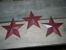 "Set of 3 5 1/2"" BURGUNDY BLACK BARN STARS Metal Tin  Primitive Country 5.5"""