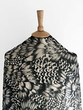 Abstract Oscillating Feather Monochrome Print Design Dressmaking Chiffon Fabric