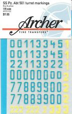 Archer Transfers Decals German SS Pz.Abt.501 Turret Numbers Blue/Yellow AR35100