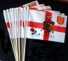"10 X ST GEORGE CHARGER HAND WAVING FLAGS 9"" X 6"" wooden pole ENGLAND FLAG"