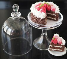 Dollhouse Miniatures Glass Bell Shaped Cake Cover Stand Chocolate Cake Food 1:12