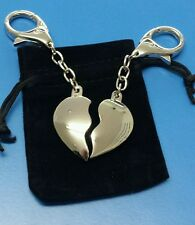 Personalised Split Love Heart Couples Keyring Engraved With Names & Date