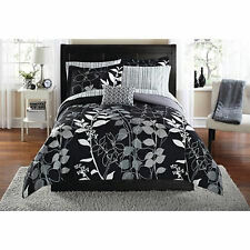 Bedding Set King Size Comforter Sheets Bed In a Bag Complete Black Floral Orkasi