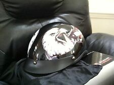 MOTOR CYCLE HALF HELMET GLOSSY BLACK EAGLE WITH FLAG DESIGN DOT APPROVED SIZE XL