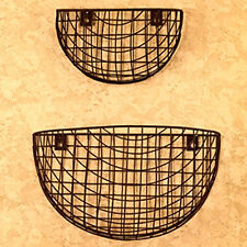 New Primitive French Country Chic 2 RUSTY WIRE WALL BASKET Vegetable Fruit Bin