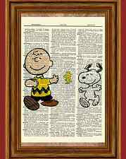 Charlie Brown and Snoopy Dictionary Art Print Picture Poster Peanuts Vintage