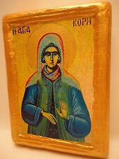 Saint Kori Kore Rare Byzantine Greek Orthodox Religious Icon Art on Real Wood
