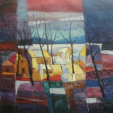 """Contemporary Oil Painting of Landscape Houses Trees in Small Town 24x24"""" Canvas"""