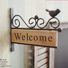 Vintage Shabby Chic Wood Welcome Plaque Sign Metal Bird Bar Cafe Office Decor