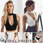 UK Womens Plunge Crop Top Ladies Sleeveless Collar Vest Top Tank Top Size 6-14
