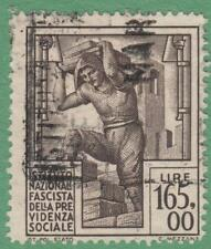 Italy Social Insurance Revenue Barefoot #490 used 165L Builder 1943 cv $31