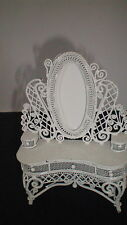 VINTAGE WHITE IRON DOLL HOUSE MAKE UP TABLE ORNATE FREE SHIPPING 1 L@@K