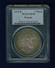 GERMANY EMPIRE  1875-B  5 MARK SILVER COIN, CERTIFIED by PCGS XF40