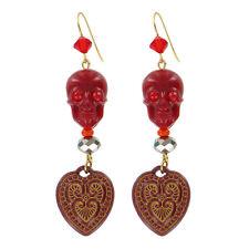 Tarina Tarantino Happy Together Catrina Skull Earrings Red Made in California