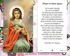 St Agnes with Prayer to Saint Agnes  - Paperstock Holy Card