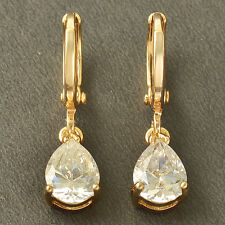 Forever Love Tear Drop Yellow Gold Filled clear CZ womens Dangle Earrings korean