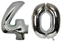 Large Number 40 Silver Balloons 40th Birthday Anniversary Foil Float Helium USA