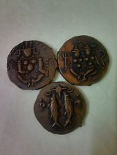 Ancient India krishnadevaraya dynastry copper coin set -3 different coins