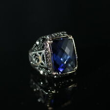 TURKISH HANDMADE STERLING SILVER 925K SAPPHIRE MEN'S RING  SIZE 9,10,11,12,13