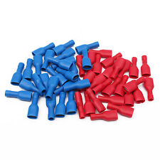 50 6.3mm 25 RED + 25 BLUE FULLY INSULATED FEMALE SPADE CONNECTOR CRIMP TERMINAL
