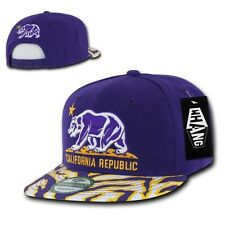 Purple Gold California Republic Cali Zebra Print Flat Snapback Snap Back Cap Hat