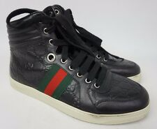 Gucci Coda Guccissima High Top Sneakers Black Leather Shoes Size 6.5 G / 7.5 US