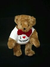 "Authentic Vermont Teddy Bear I Love Vermont Souvenir Plush Bear 15"" EUC"
