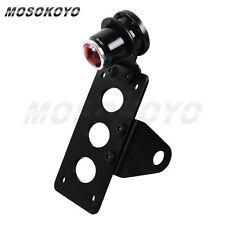 Motorcycle Side Mount LED Rear Taillight License Plate Braket For Harley Black
