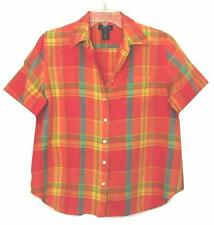 NWOT WOMENS JONES NEW YORK 100% LINEN ORANGE/RED PLAID SHORT SLEEVE PLUS SZ 1X