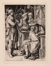 "Framed 1800s LUCAS VAN LEYDEN ""David Plays for Saul"" DURAND Engraving SIGNED COA"