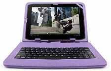 Premium QWERTY Keyboard Folio Case in Purple for Motorola Xoom & Xoom 2