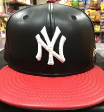New Ny Yankees Leather New Era Snapback Hat Red And Black